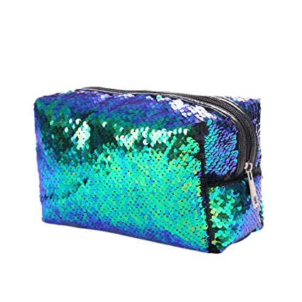 Amazon.com: LANDUM Women Sequins Makeup Cosmetic Case Pen ...
