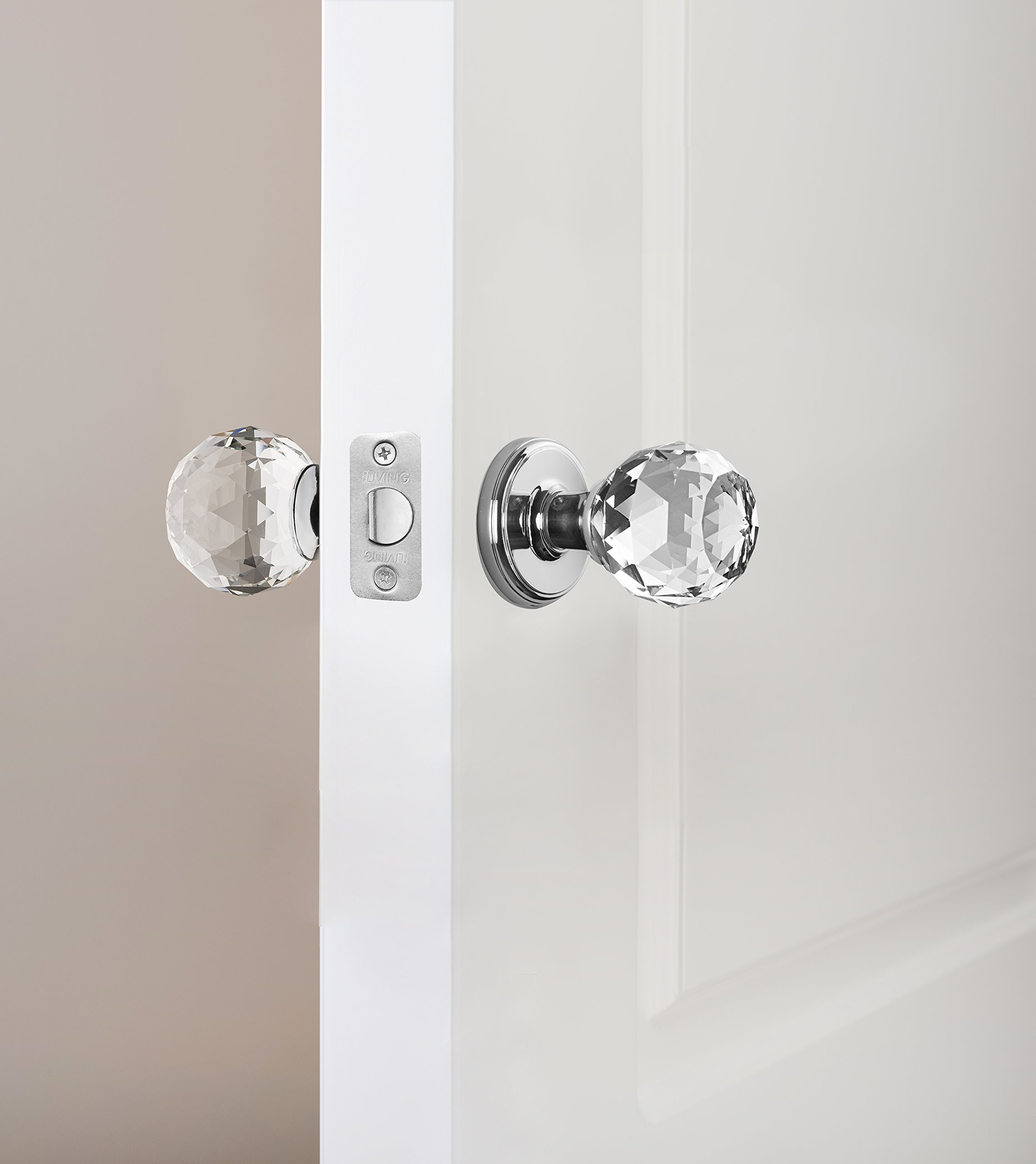 Decor Living, AMG and Enchante Accessories Faceted Crystal Door Knobs with Lock, Privacy Function for Bed and Bath, IRIS Collection, Polished Chrome by DECOR LIVING (Image #8)