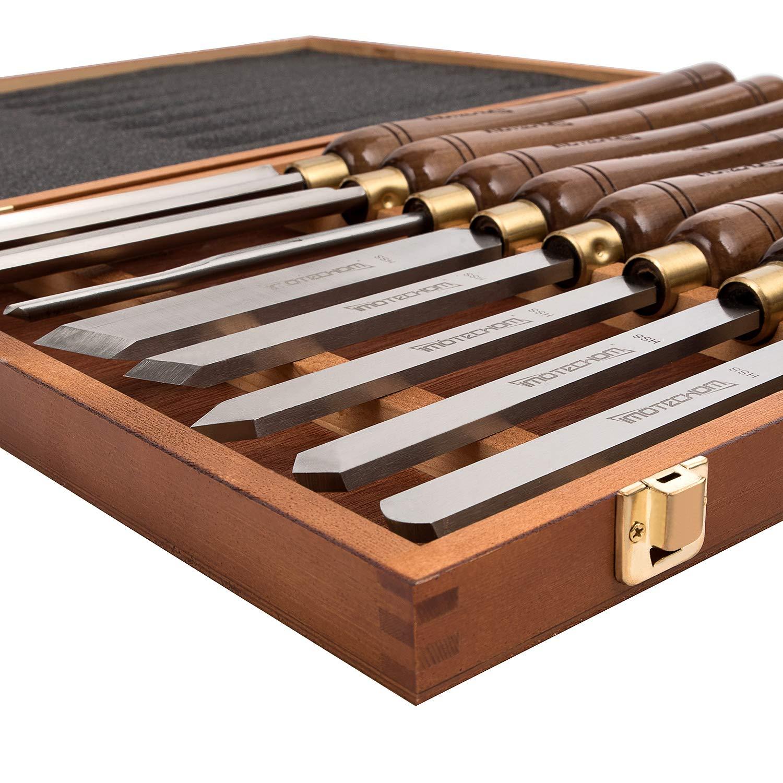 IMOTECHOM HSS 8pcs Set de Cincel de Mano de Madera Herramientas Caso de madera Torneado de Madera de Torno Gouges para Carpinter/ía Con mango Walnut