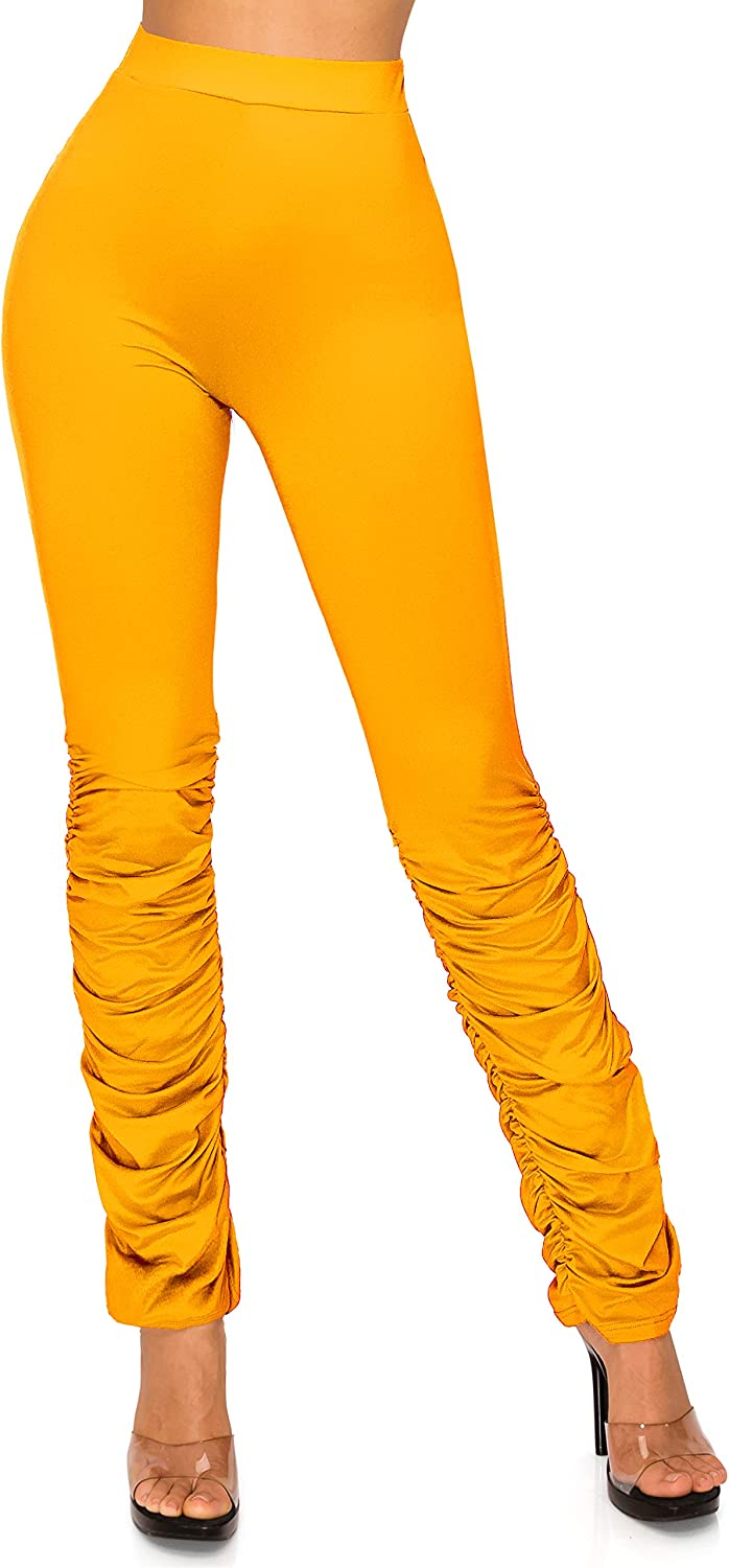 SWEET TEE Stacked Ruched Leggings Pants for Women - Premium Soft Super Stretch High Waisted Ruffle Shirring Bottom