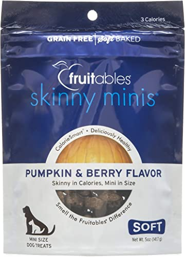 Fruitables Skinny Minis Grain Free Soft Treats for Dogs Pumpkin Berry Flavored 5 Ounces
