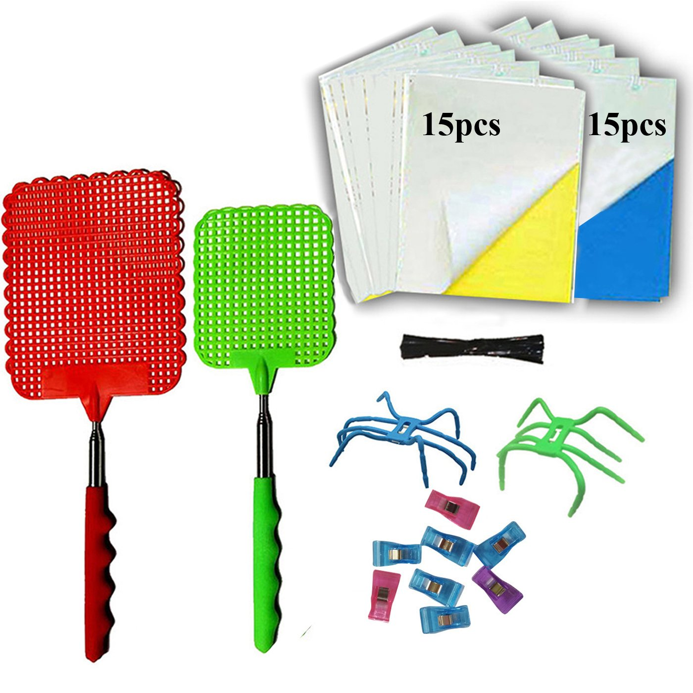 NewFerU Pest Control Kit Sticky Glue Strip Trap Catchers Plastic Manual Fly Swatter with Telescopic Handle for Indoor Outdoor Asian Beetle Light Bug Stinkbug, Ladybug, Mosquito