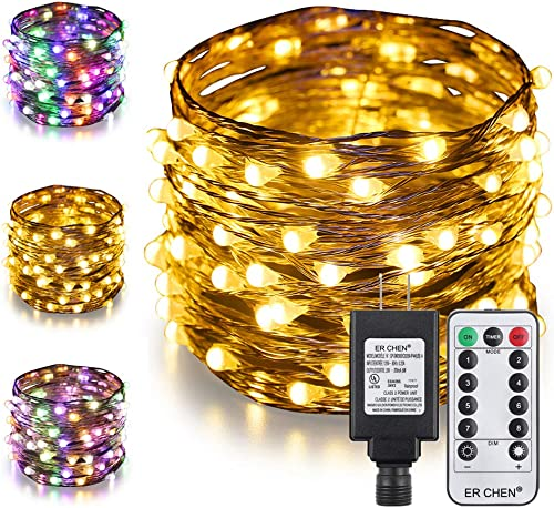 ER CHEN LED String Lights Plug in with Remote, 72ft 200 LED Silver Coated Copper Wire Color Changing Christmas Fairy Lights 8 Modes with Timer for Bedroom,Patio,Garden,Yard Warm White Multicolor