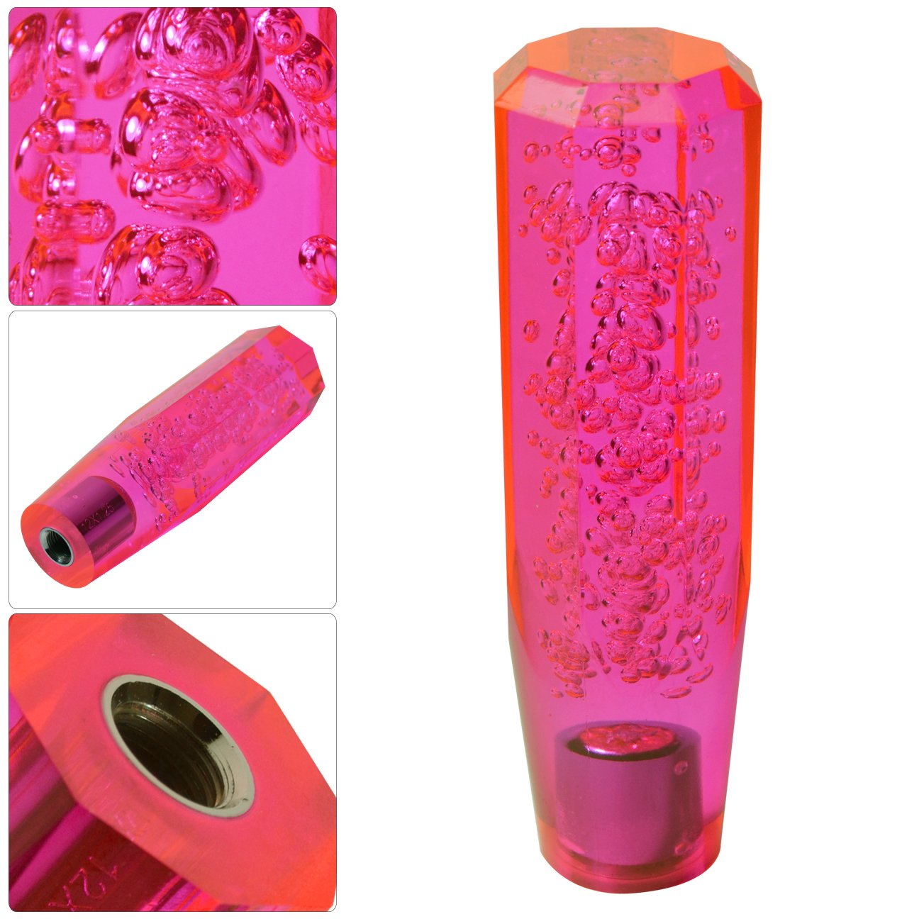 Universal Jdm Vip 150Mm Crystal Octagon Style Bubble Filled Shift Knob Transparent Neon Pink M/T