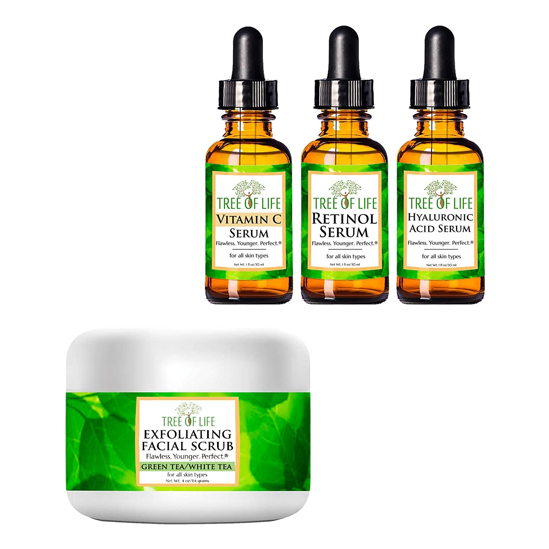 Serum 3-Pack (Vitamin C, Retinol, and Hyaluronic Acid Serums) + Exfoliating Facial Scrub for Skin