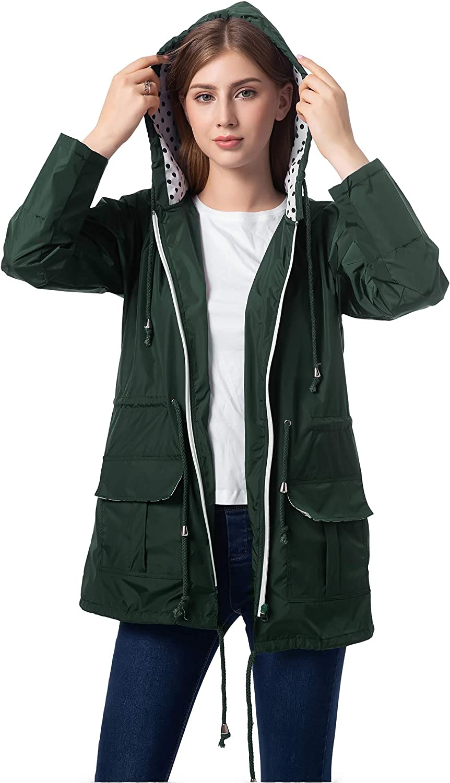 Romanstii Waterproof Raincoat,Women Outdoor Hooded Rain Jacket Long Trench Coats Lined Windbreaker S-XXL