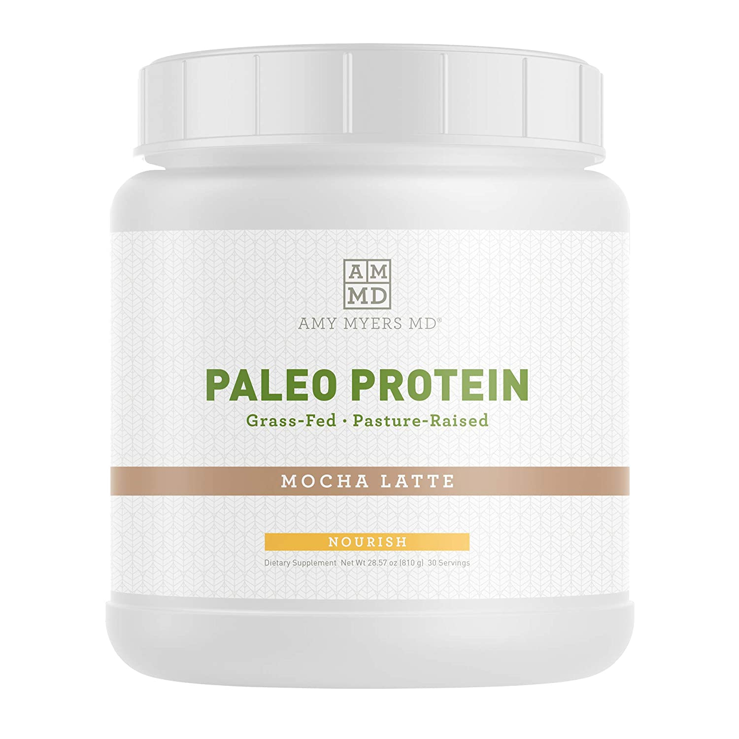 Mocha Latte Pure Paleo Protein by Dr Amy Myers Clean Grass Fed, Pasture Raised Hormone Free Protein, Non-GMO, Gluten Dairy Free 21g Protein Per Serving Mocha Shake for Paleo and Keto