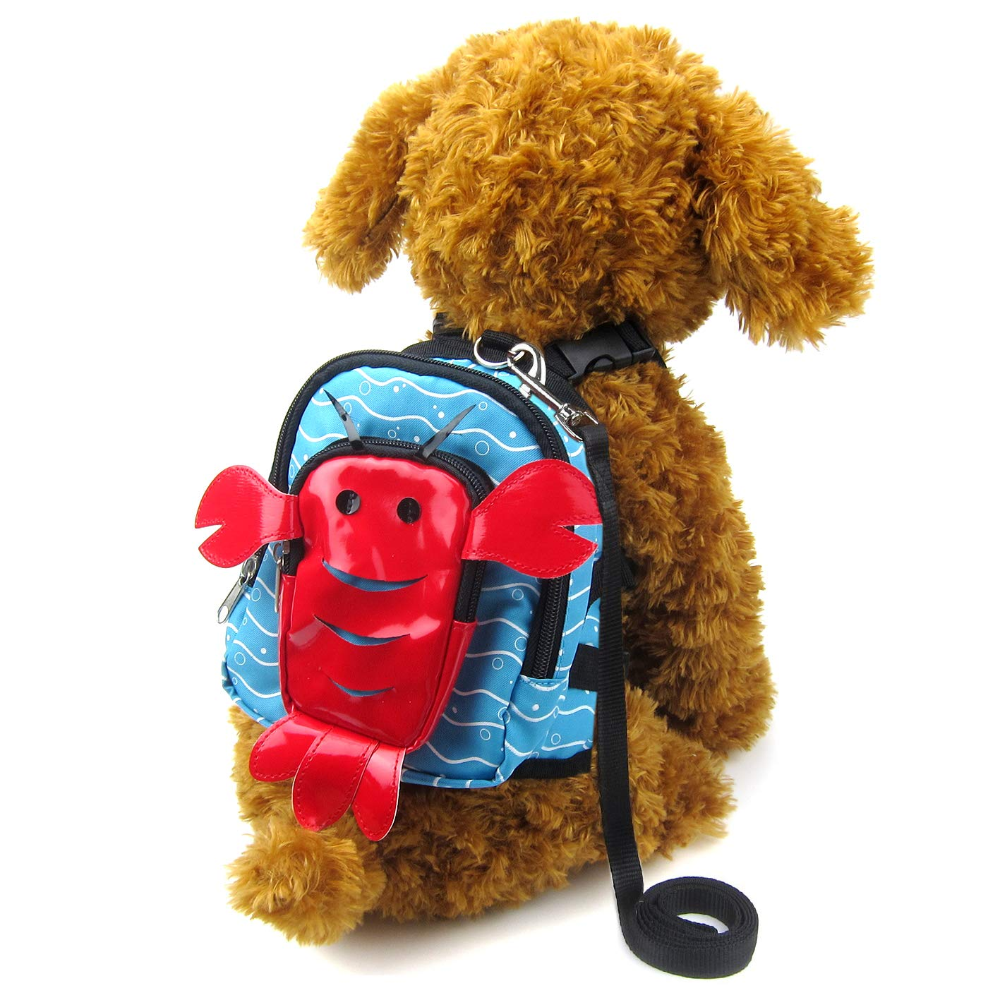 Lobster Small Lobster Small Alfie Pet Oliga Backpack Harness with Leash Set color  Red Lobster, Size  Small