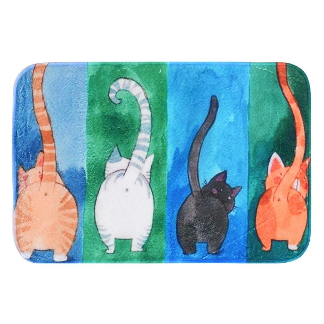 erthome Pet Cat Printed Bathroom Kitchen Rugs Doormats Cat Carpet For Living Room Non-slip Mats Decoration (A)