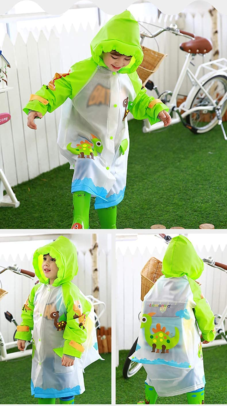 Kids Raincoat for Girls and Boys Childrens Waterproof Rainwear with Backpack Cover