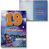 Archie Geburtstagskarte Zum 19. Geburtstag Junge Mädchen Lila  Glückwunschkarte Kinder