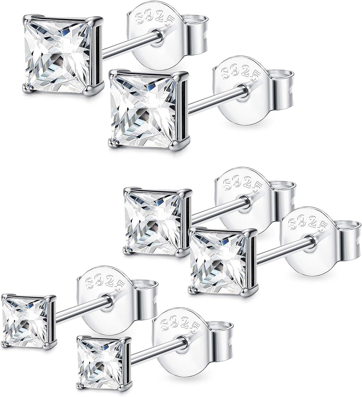 BESTEEL 3-6 Pare Plata de Ley 925 Pendientes Stud para Hombre Mujer Niña con Circonita Pendientes Aretes Joyería Elegante, 3-8 MM