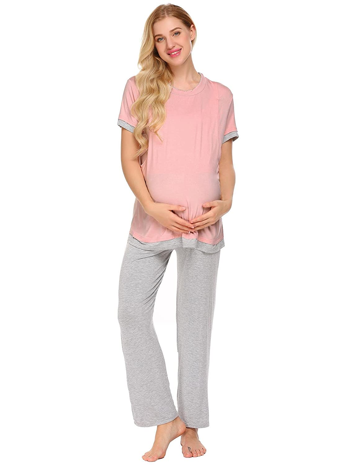 Adome Women Maternity Pajamas Set Short/Long Sleeve Breastfeeding Nursing Lounge Sleepwear
