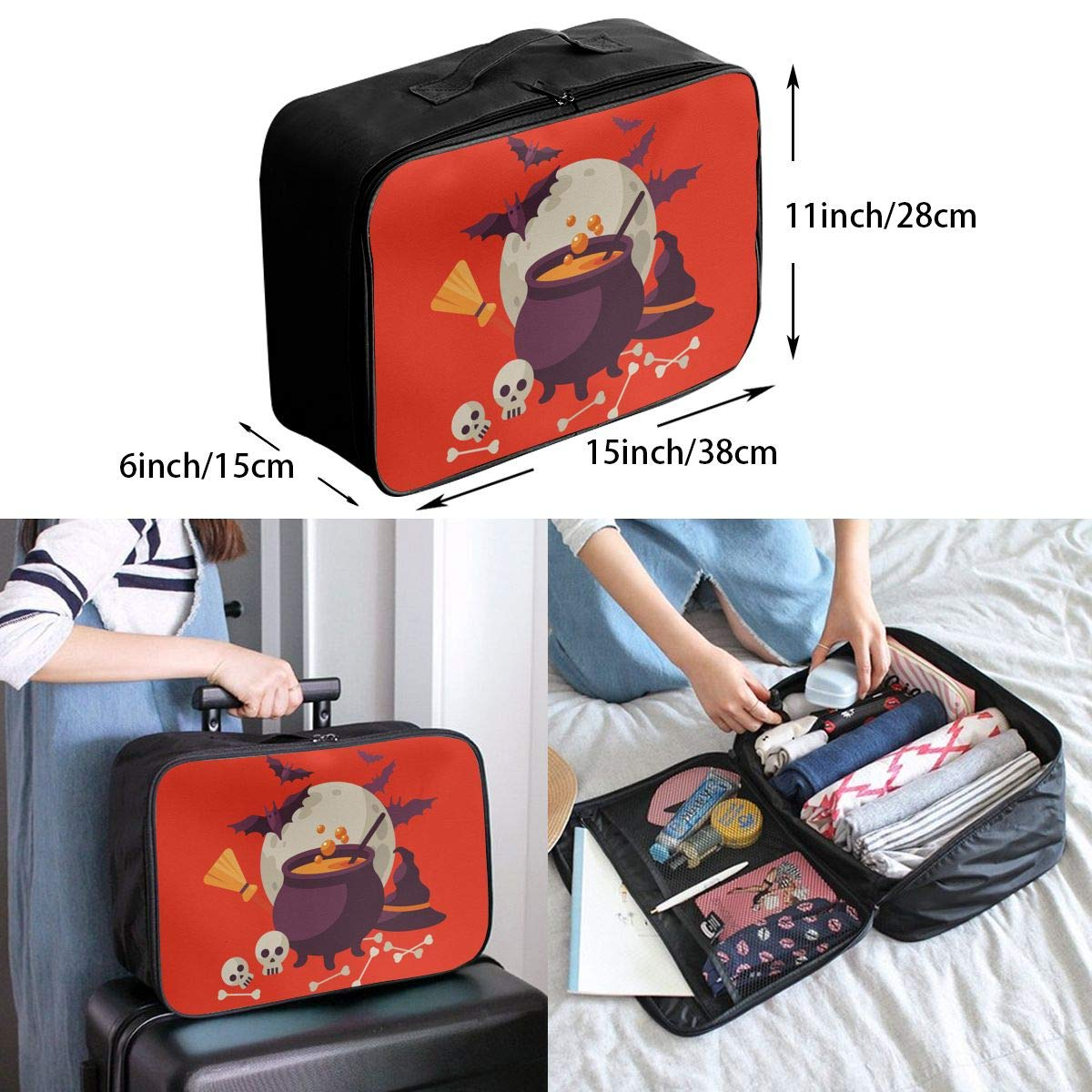 Travel Luggage Duffle Bag Lightweight Portable Handbag Halloween Large Capacity Waterproof Foldable Storage Tote