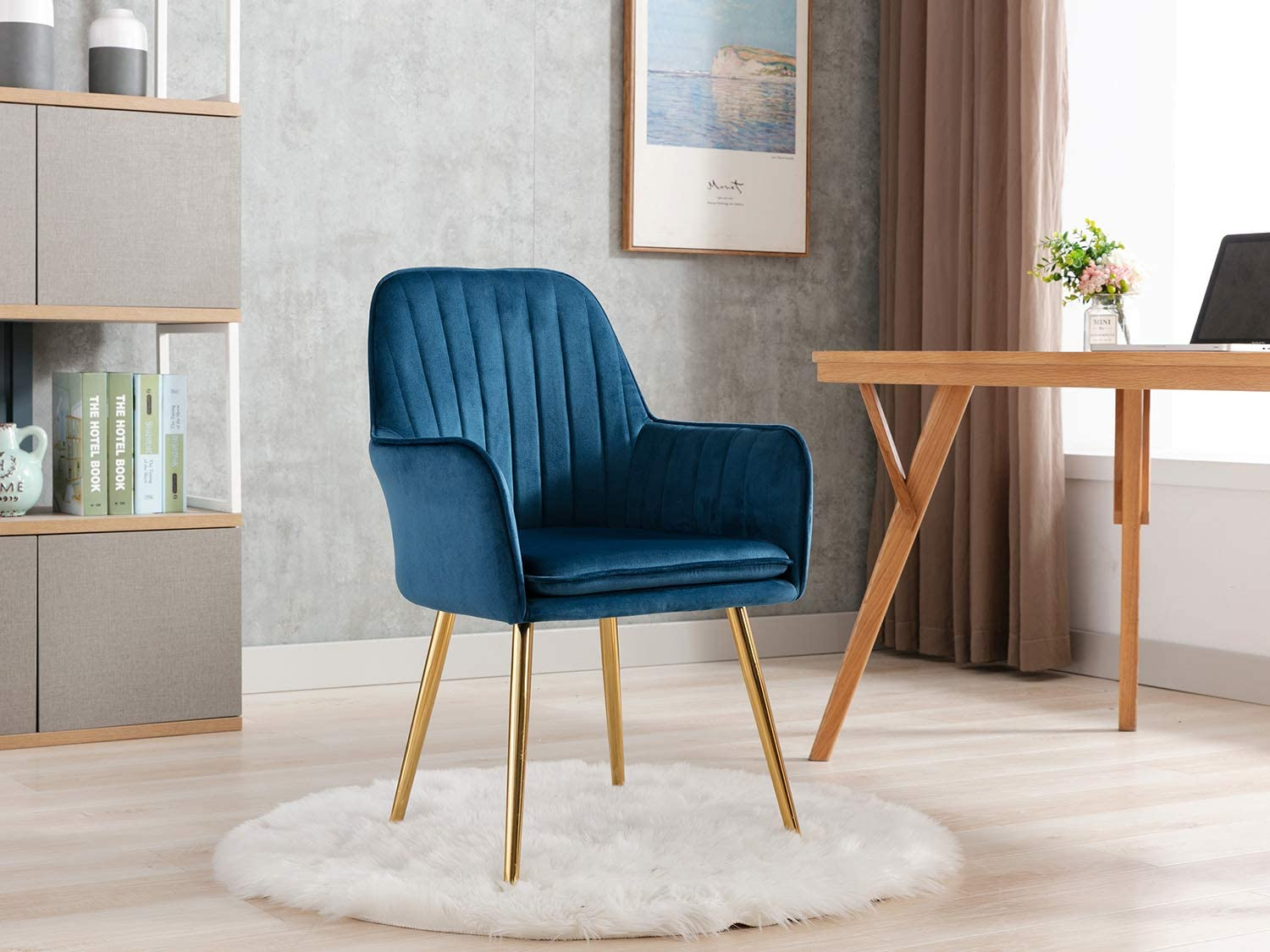 Amazon Com Altrobene Velvet Accent Chair Home Office Desk Chair Modern Dinging Chair Living Room Bedroom Chair Golden Finished Blue Kitchen Dining