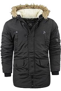 Kleidung & Accessoires Hell New Brave Soul Designer Mens Quilted Parka Jacket Fur Hooded Padded Winter Coat