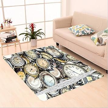 nalahome Custom alfombra decoración antiguo tema un montón de varios vintage relojes retro patrón decorativo diseño dorado y beige área Rugs para Living ...
