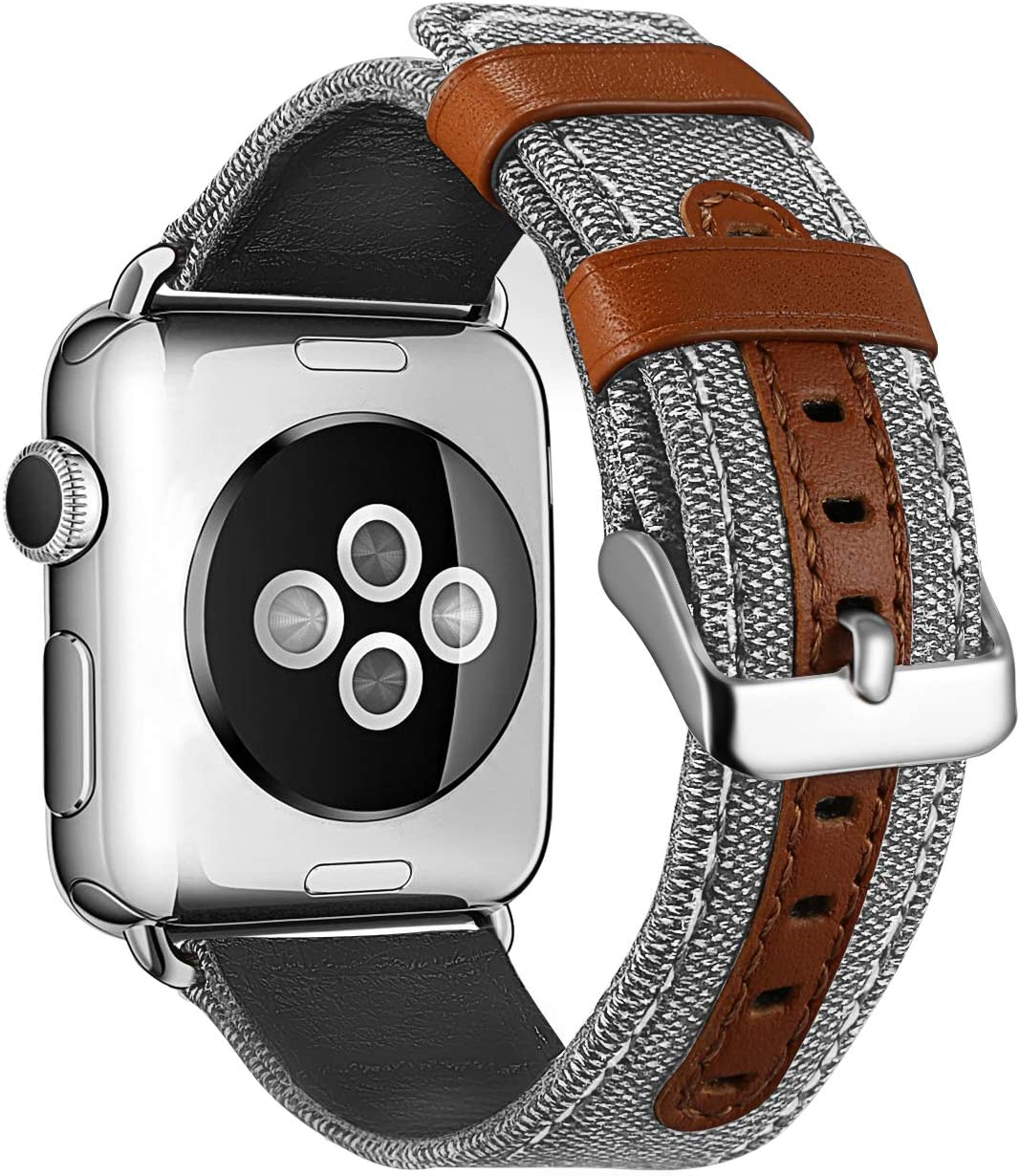 TekSonic Bands Compatible for Apple Watch Series 3 2 1 38mm 42mm Men Women Fancy Canvas Fabric Style Replacement Wristband - Genuine Leather Strap with Metal Clasp for iWatch Nike+ (Cream, 42mm)