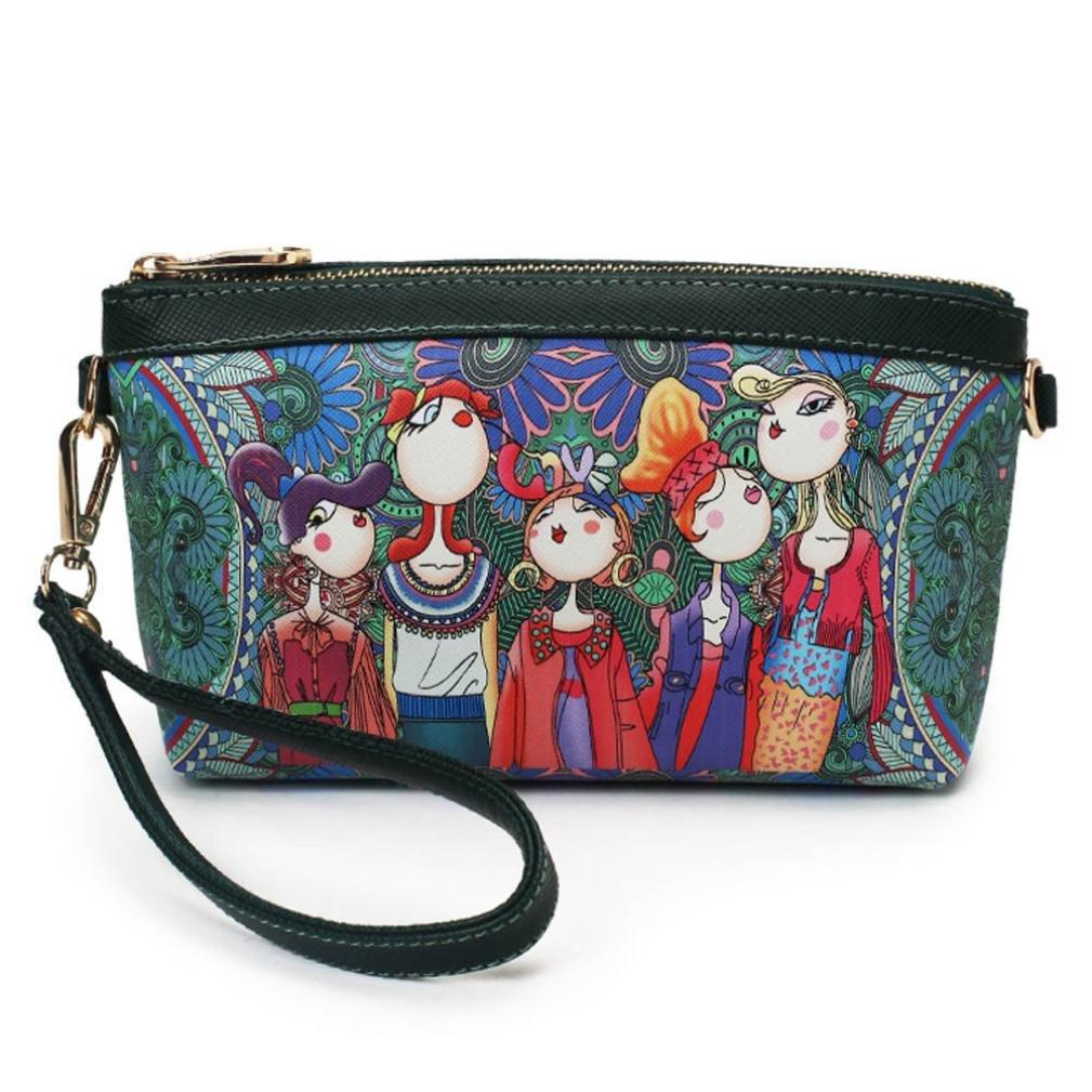 Lanhuiファッションレディースハンドバッグ、folk-custom印刷パターンショルダーバッグトートレディース財布 B071DDFXZV