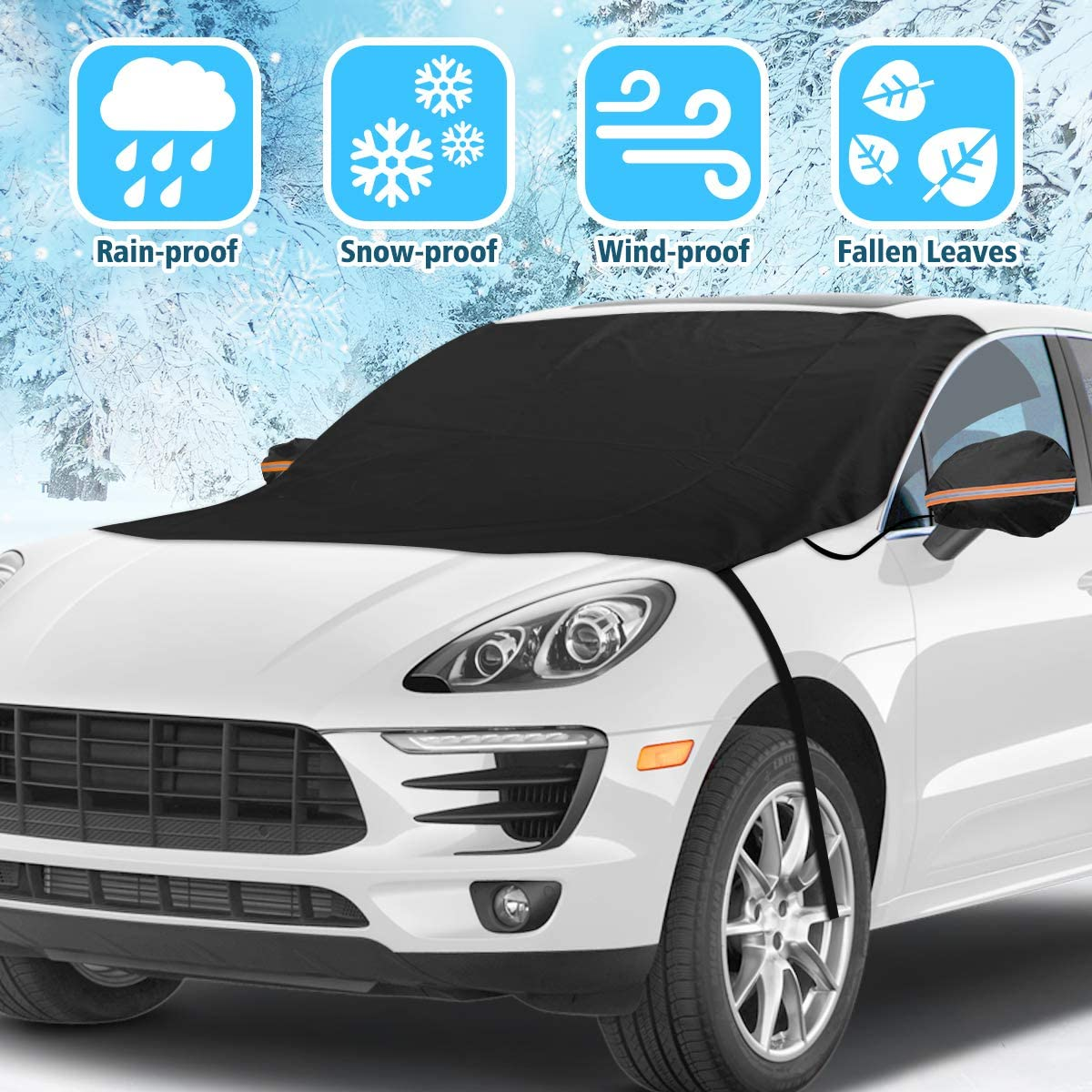 Tvird Car Windshield Snow Cover Upgarde Car Windshield Protection Cover with Reflector and Mirror Covers,Snow Ice Cover//Sun Shade Car Snow Cover for Car//Truck//SUV 82x48.8