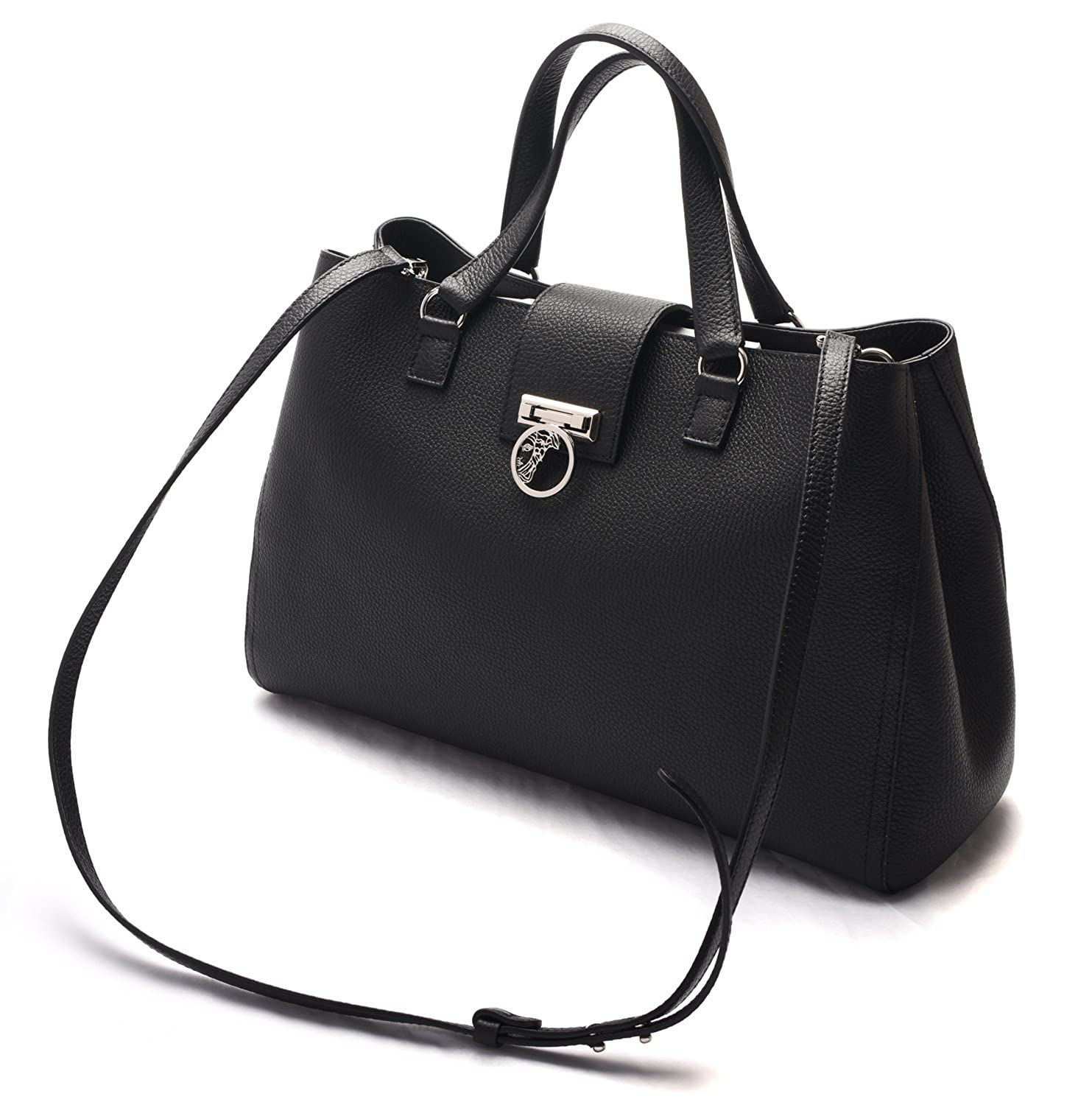 Versace Collection Women Pebbled Leather Medusa Top Handle Handbag Satchel  Black  Amazon.in  Shoes   Handbags 704712a7a9a43