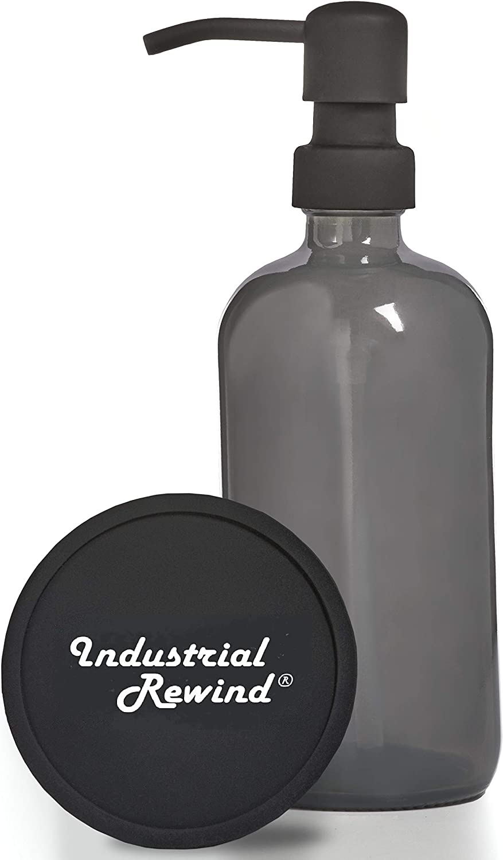 Gray Soap Dispenser with Non Slip Coaster, 8oz Glass Soap Dispenser with Metal Pump, Grey Half Pint Glass Bottle (Black Pump)