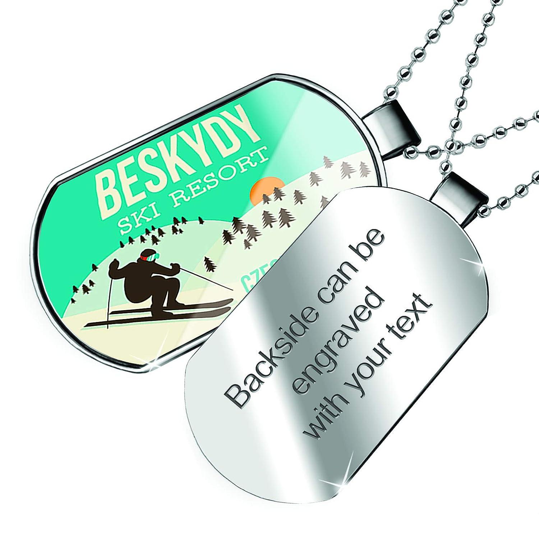 NEONBLOND Personalized Name Engraved Beskydy Ski Resort Czech Republic Ski Resort Dogtag Necklace