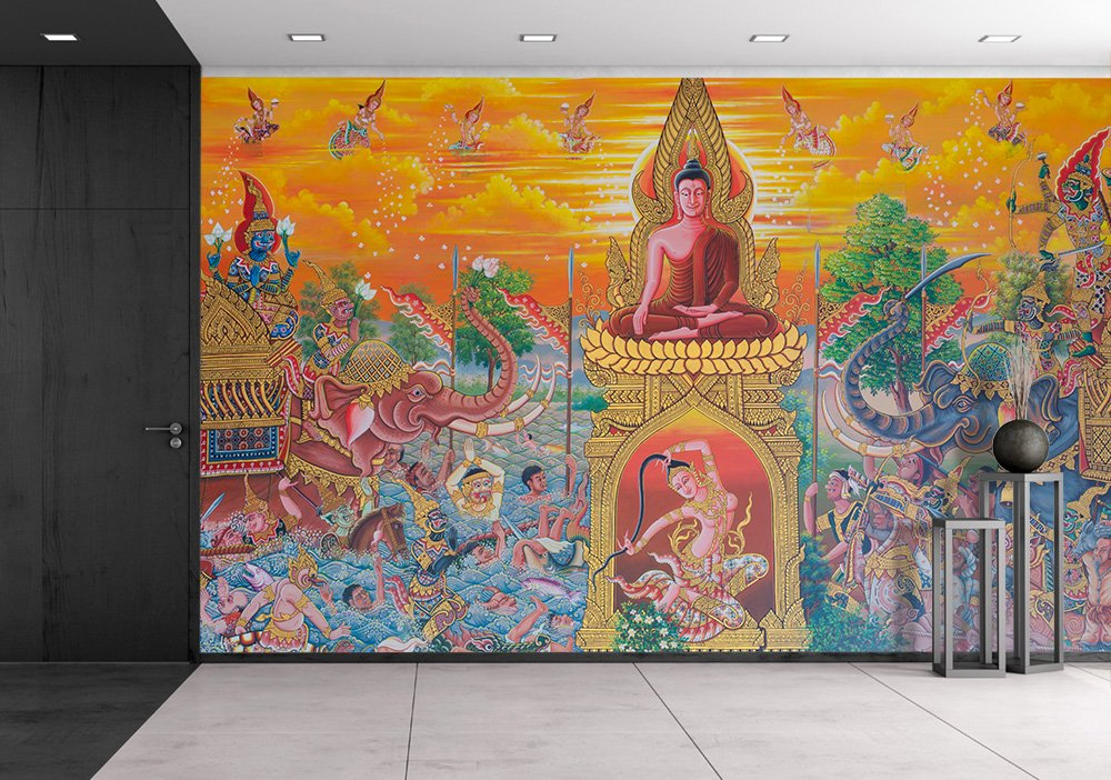 wall26 - Art Thai, Mural Mythology Buddhist Religion on Wall in Wat Neramit Vipasama, Dansai, Loei, Thailand - Removable Wall Mural | Self-adhesive Large Wallpaper - 66x96 inches by wall26