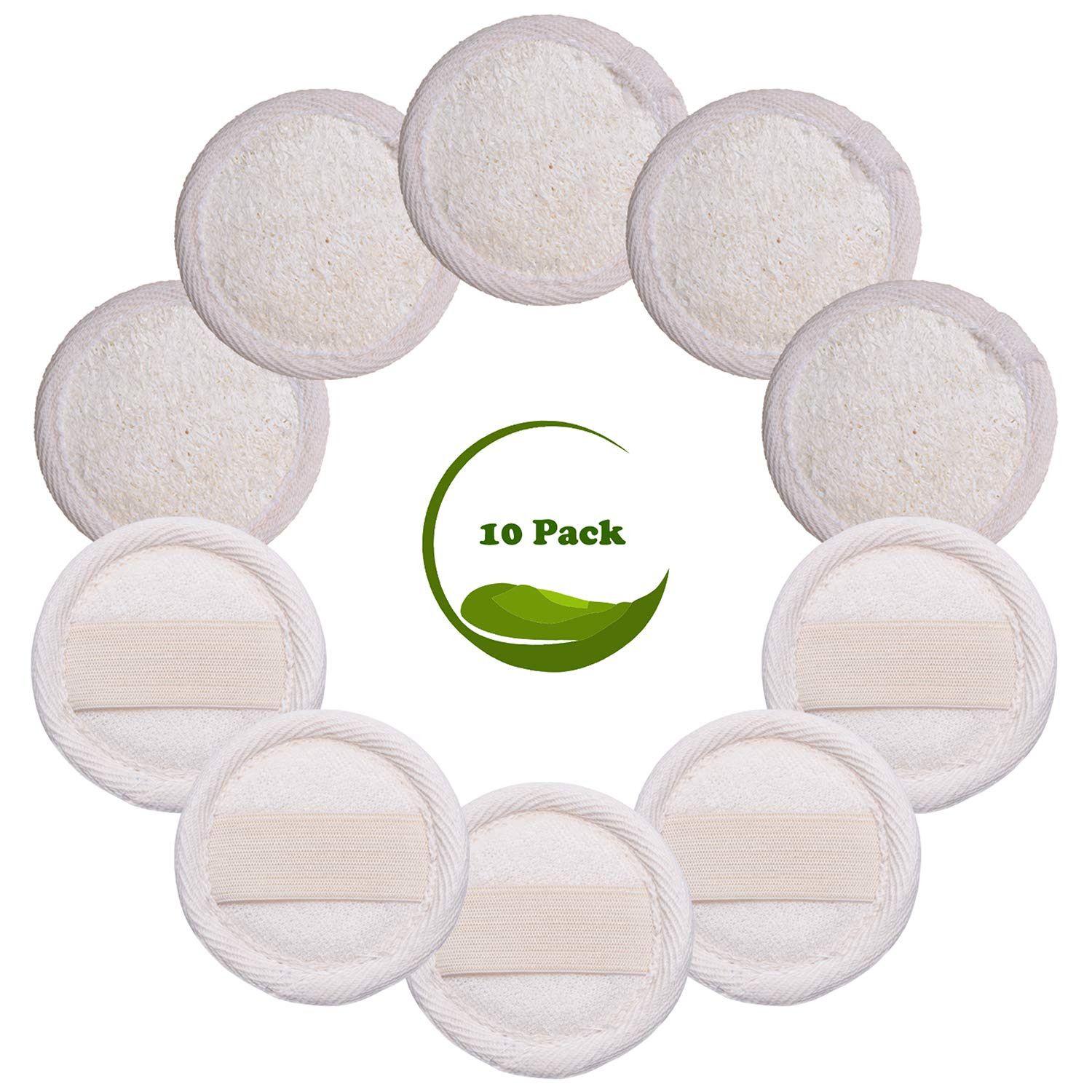 Sportout 10 Packs Exfoliating Loofah Face Brush Cleanser and Massager, 100% Natural Loofah Sponge Manual Facial Cleansing Scrubber Handheld Pad, For Men and Women