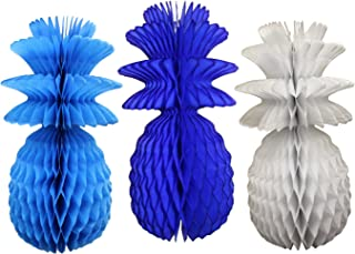 product image for Large Solid Colored 13 Inch Honeycomb Pineapple Party Decoration Kit (Turquoise, Dark Blue, White)