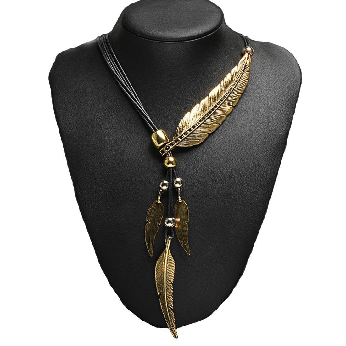 kecooi Fashion Beautiful Vintage Elegant Women Bohemian Style Bronze Rope Chain Feather Pattern Pendant Necklace Most Beautiful