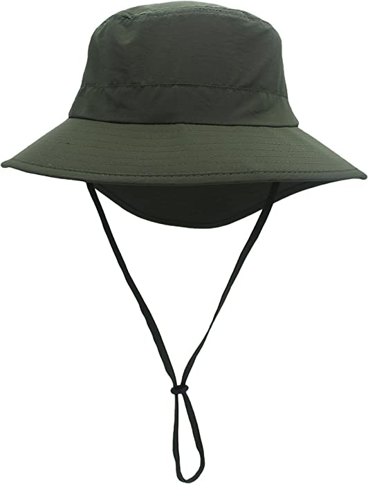 093f14da7dd Ksenia Unisex Outdoor Wide Brim Bucket Hat UV Protecting Boonie Sun Cap Hat  with String at Amazon Women s Clothing store