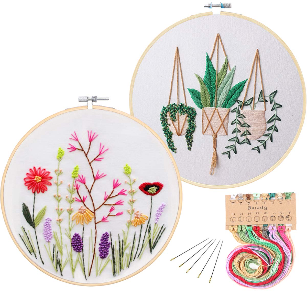 2 Pack Embroidery Starter Kit with Pattern, Kissbuty Full Range of Stamped  Embroidery Kit Including Embroidery Cloth with Pattern, Bamboo Embroidery