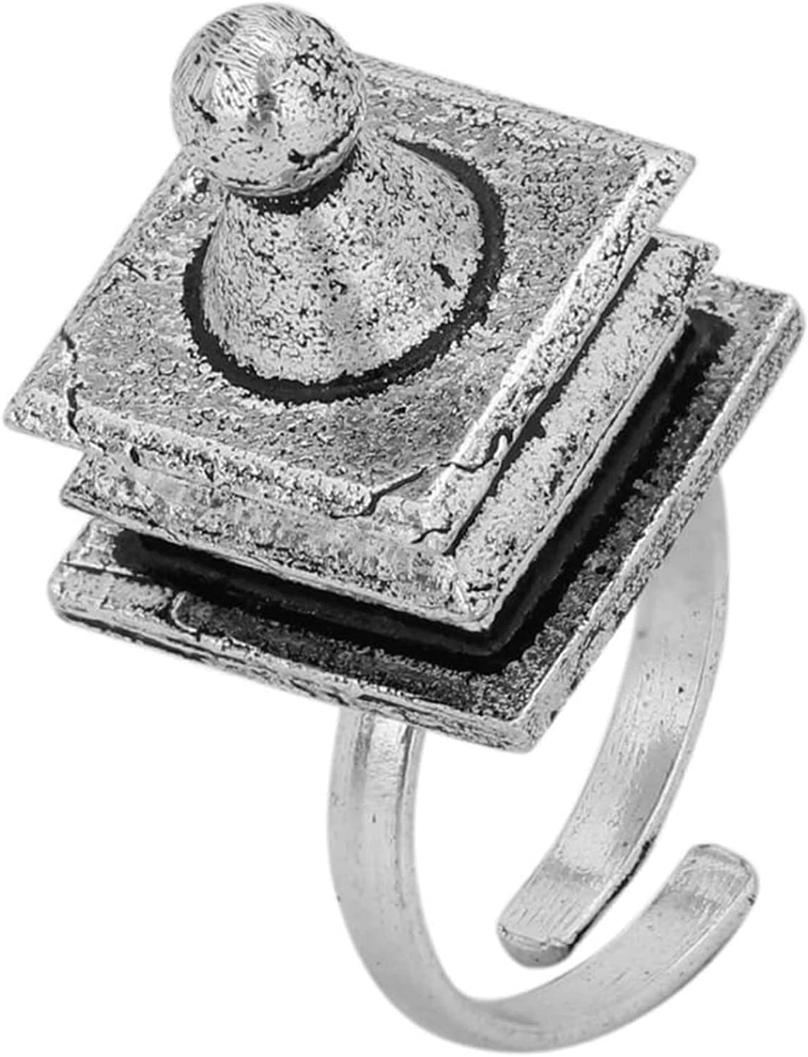 Tjori Tribal//African Oxidized Silver Plated Brass Ring Temple Design Adjustable for Women and Girls JR-105