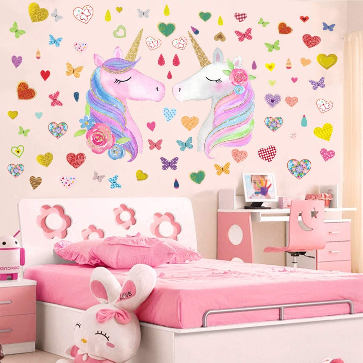 Wall Decals Unicorn for Nursery Birthday Party Favor Home Decor Large Size Removable Unicorn Wall Decals Stickers Decor for Girls Bedroom 4Sheets Unicorn Wall Decor