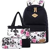 (Black-14) - BLUBOON Teens Backpack Set Canvas Girls School Bags, Bookbags 3 in 1 (Black-14)