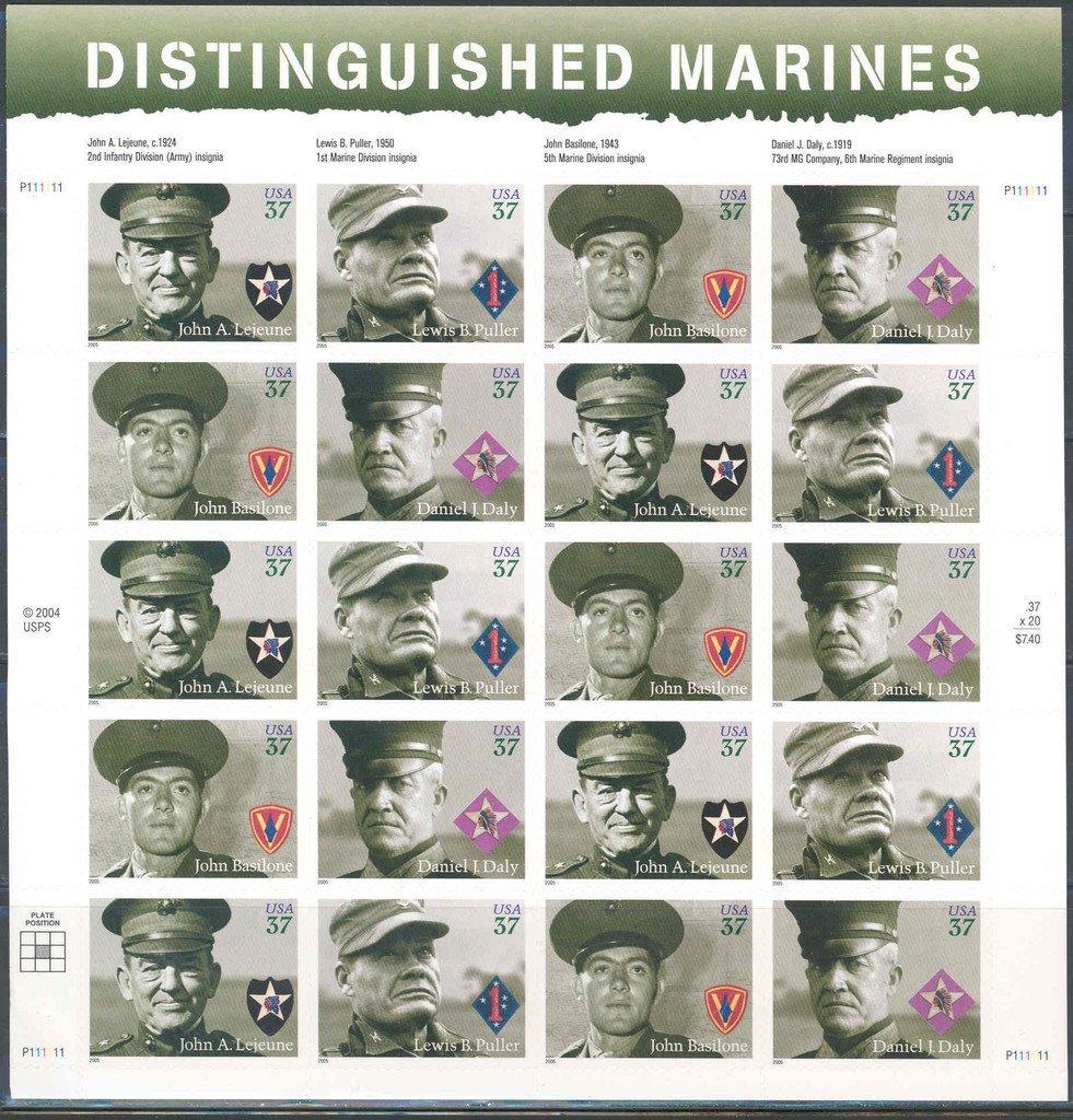 US Stamp - 2005 Distinguished Marines - 20 Stamp Sheet #3961-4 by Distinguished Marines Sheet of Twenty 37 Cent Stam Distinguished Marines Sheet of Twenty 37 Cent Stamps Scott 3961-64