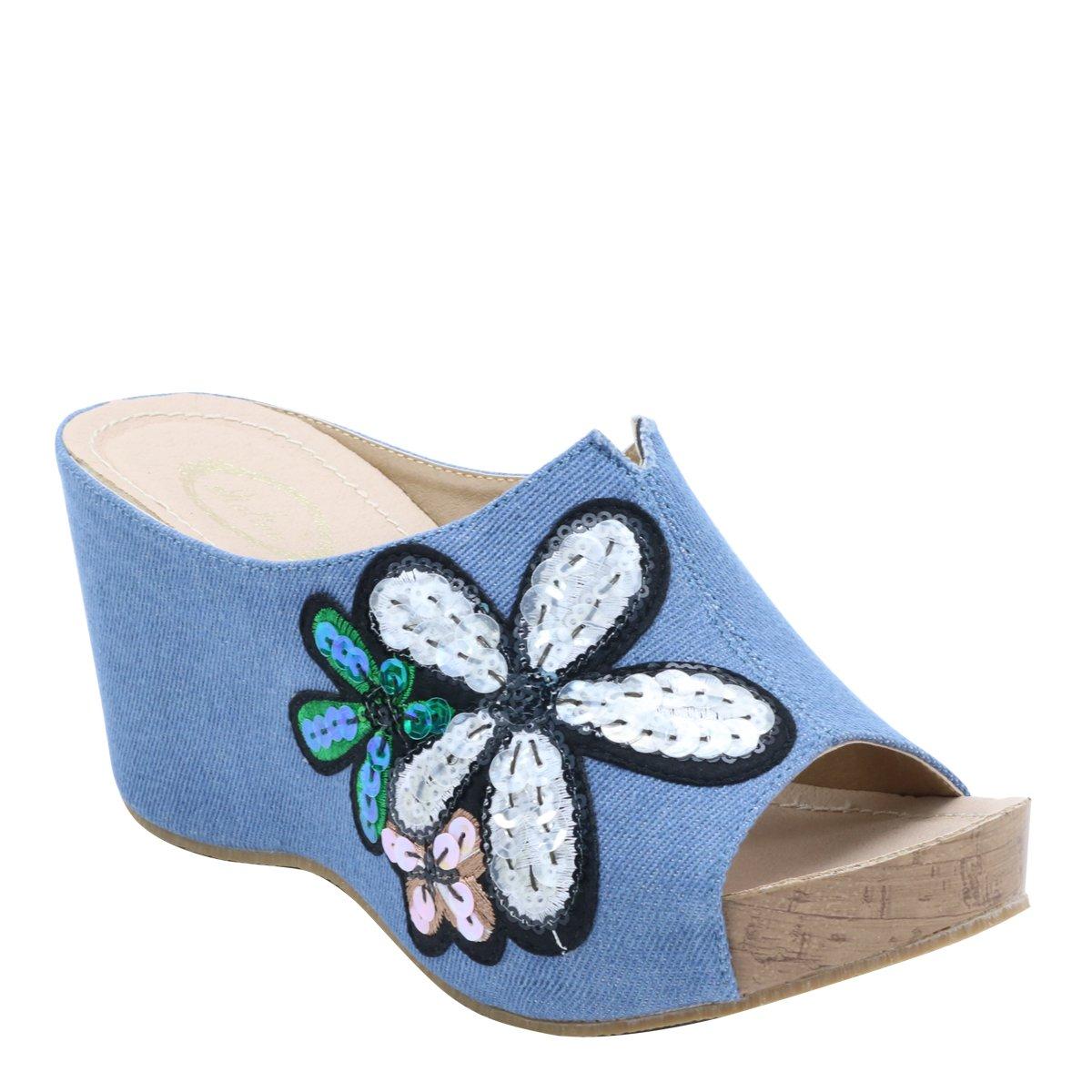 New Master Women's Embroidery Platform Wedge Sandals B0749H3G3Q 8 B(M) US|Blue Denim
