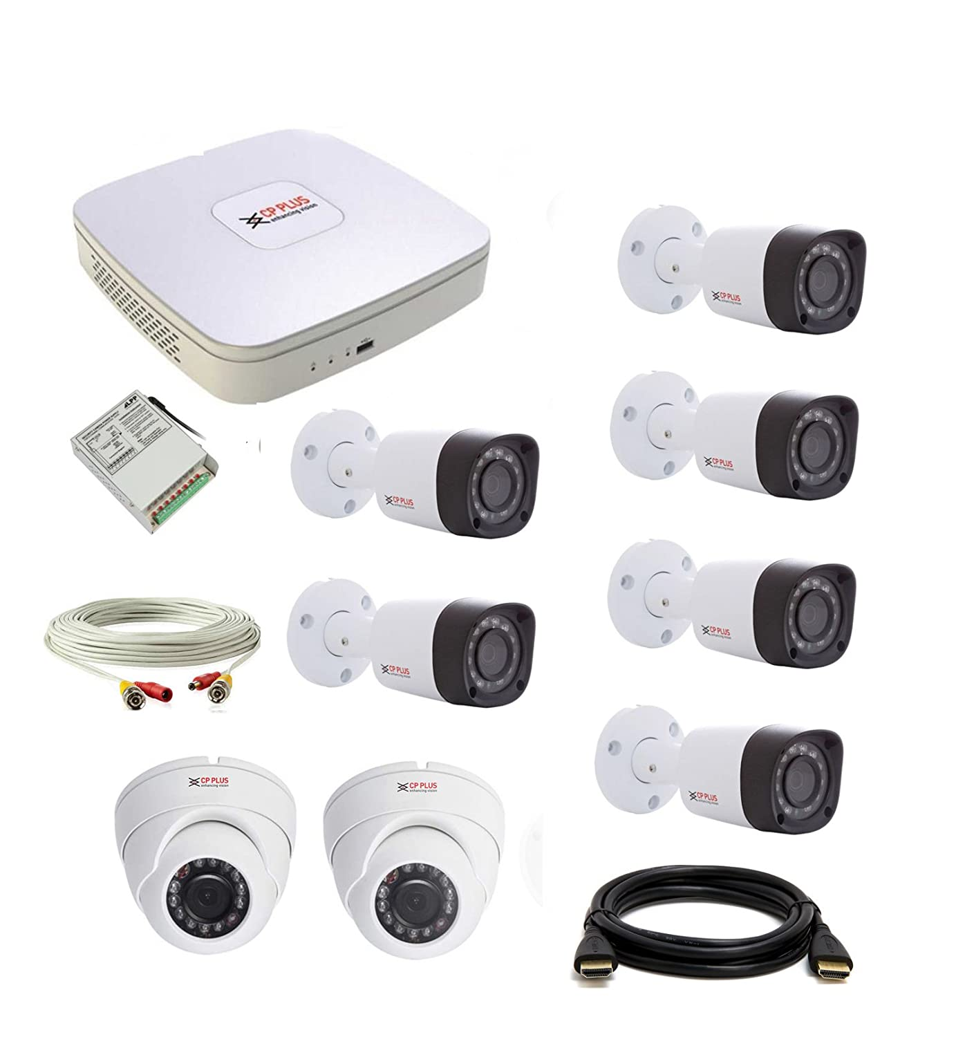 CP Plus Set Of 2+6 Dome And Bullet CCTV Camera With 8 Ch DVR