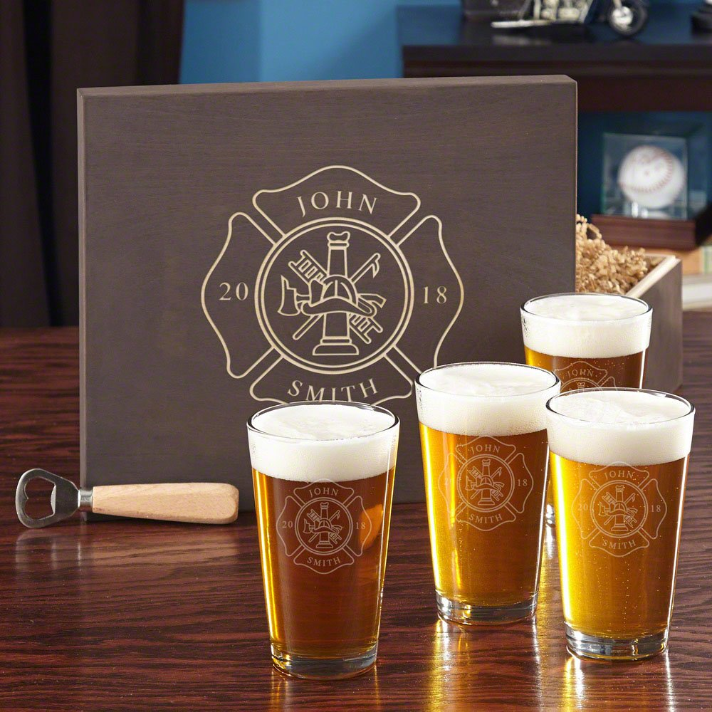 Firefighter Custom Beer Set with Engraved Wood Gift Box (Customizable Product)