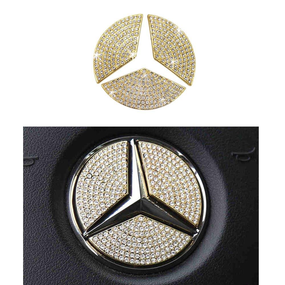 1797 Mercedes Accessories Benz Parts Trim Steering Wheel Logo Emblem Badge Decal Interior Visors Decorations W205 W212 W213 C117 C E S CLA GLA GLK Class AMG Women Bling Crystal Gold 49mm 1.93in 3pcs