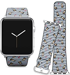 Compatible with Apple Watch (38/40 mm) Series 5, 4, 3, 2, 1 // Leather Replacement Bracelet Strap Wristband + Adapters // Dachshund Puppy Sailorman Costume Anchors