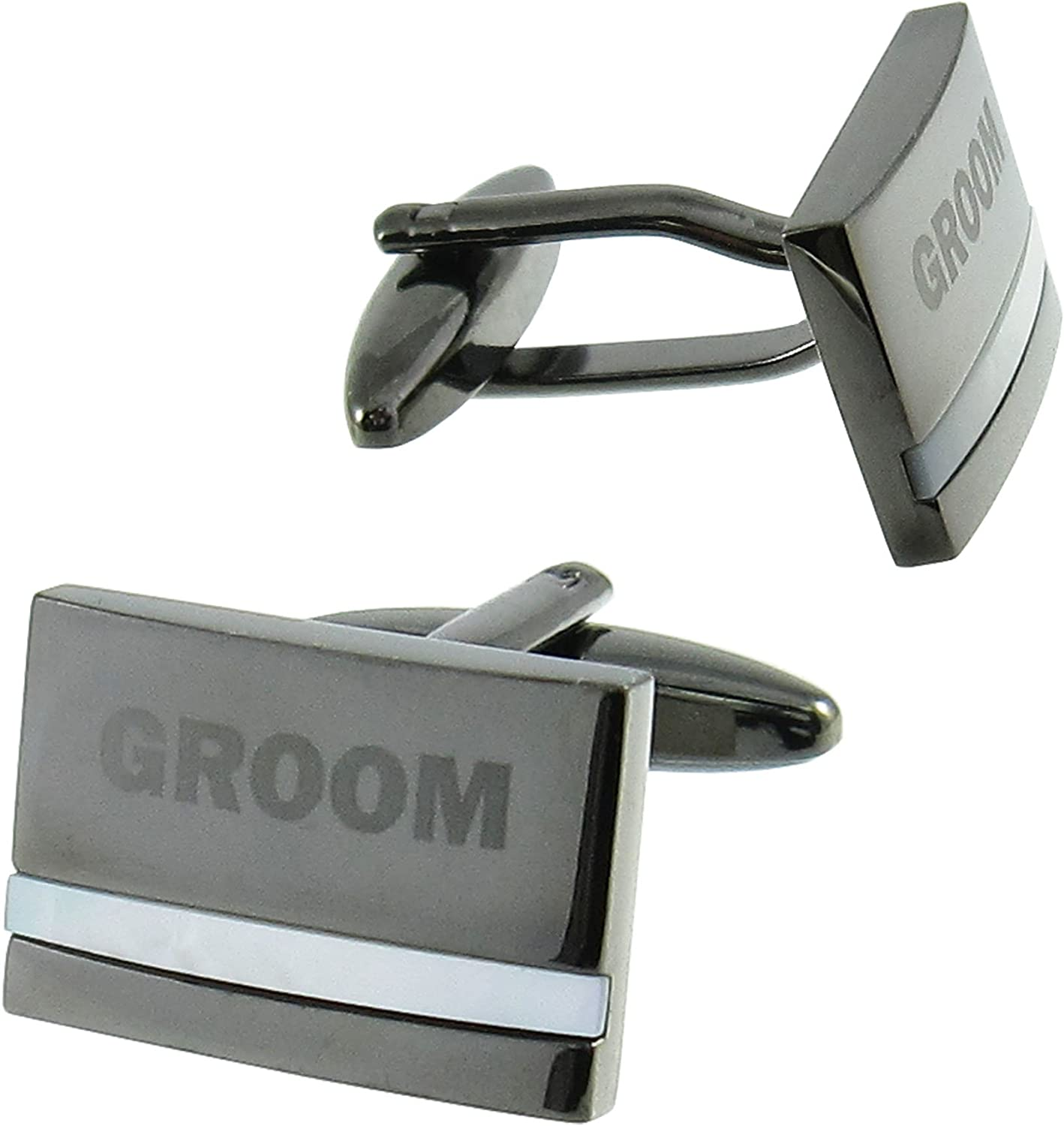 Cuff-Daddy Groom Cufflinks with Mother of Pearl Cuff Links with Presentation Box