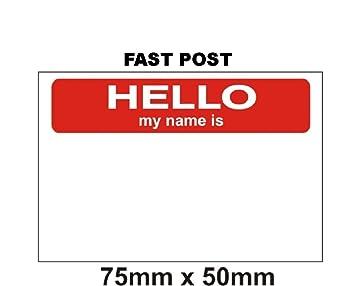 Fsss Ltd Aufkleberetikettenhello My Name Is Sticker 100 Stück Rotweiß 75 X 50 Mm