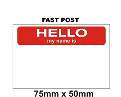 Hello My Name Is Stickers X 100 Red White 75 X 50mm