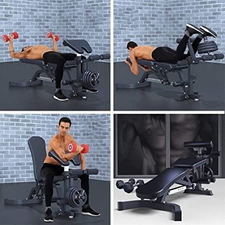 Suge Adjustable Weight Bench for Unisex Adult Training Weight Sit Up Bench All-in-One Workout Heavy Duty Flat Incline Decline Multiuse Exercise Home Gym