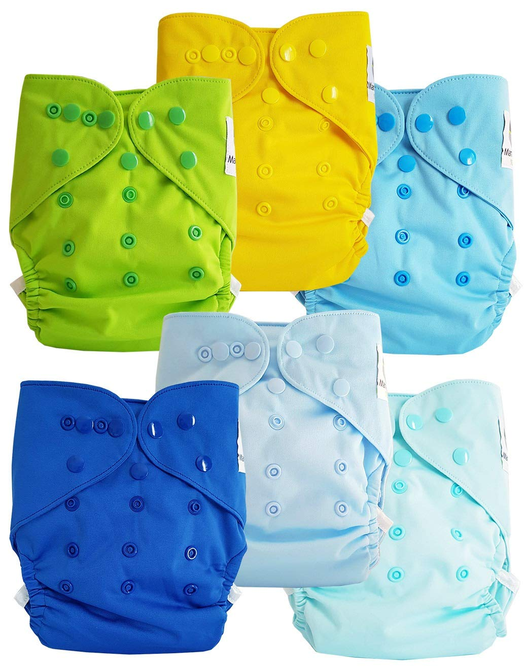 Lot de 6 couches lavables TE2 /à doubles goussets Flashy Maman et bb Nature