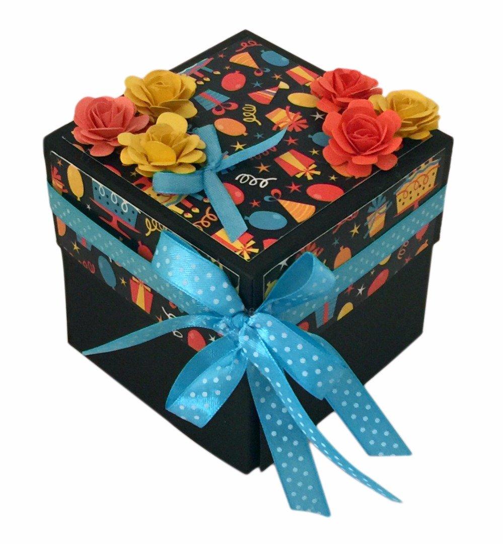Crack de Dawn artesanía 3 capas cumpleaños tarjeta regalo de cumpleaños caja de regalo único explosión naranja Fun: Amazon.es: Oficina y papelería
