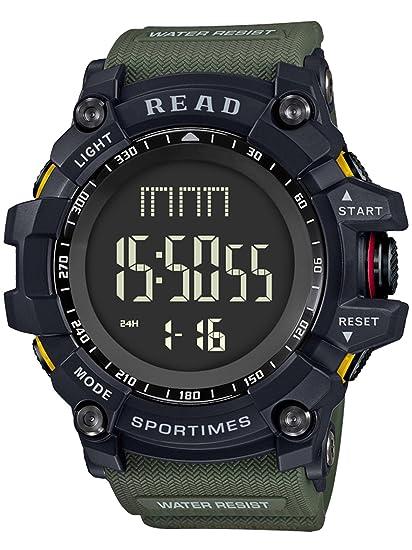 Amary - Reloj digital para hombre, deportivo, militar, resistente al agua, con esfera grande, electrónico: Amazon.es: Relojes