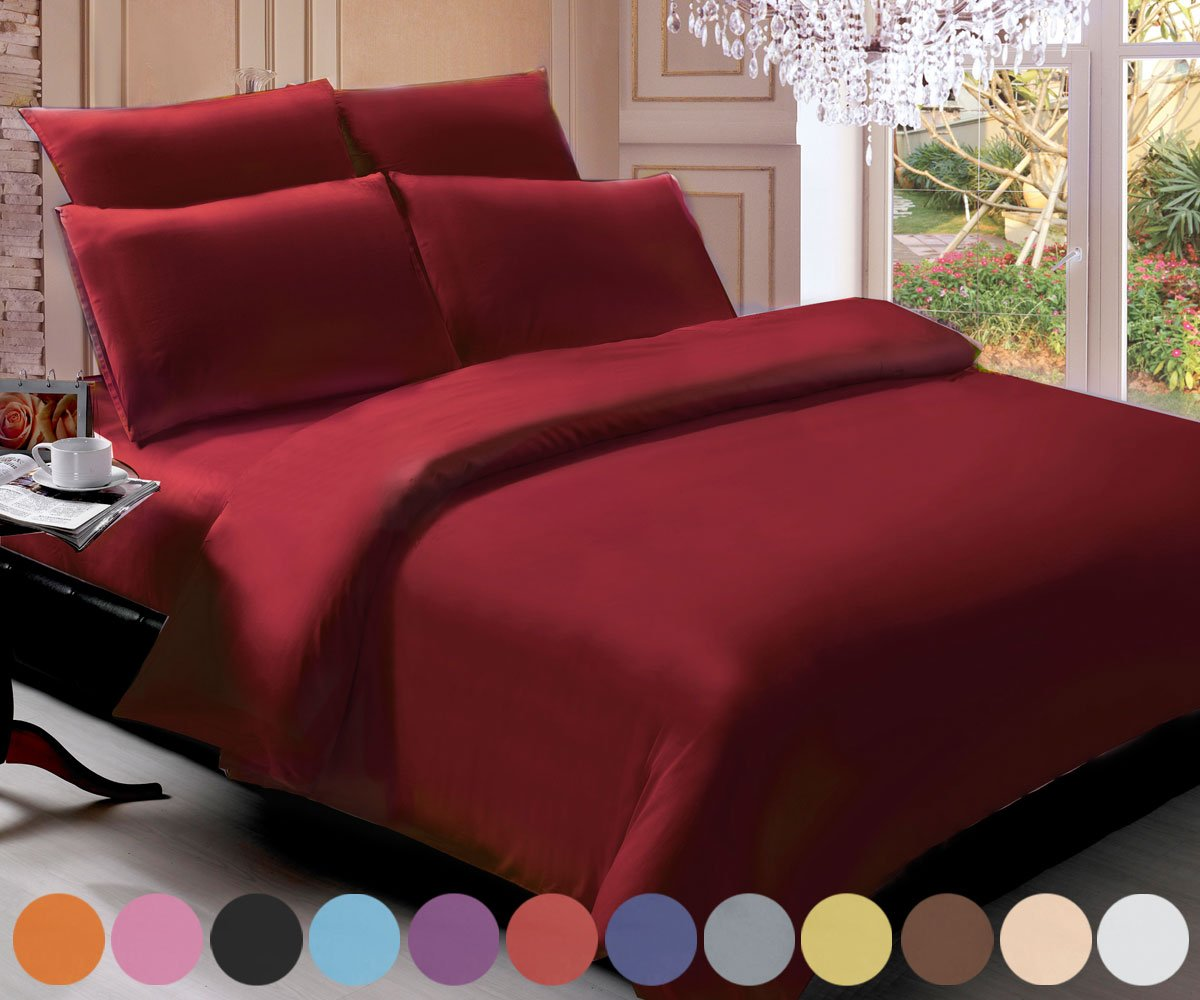 Swan Comfort Brushed Microfiber Hypoallergenic 6-pieces Bedding Sheet Sets - 1800 Series - Full, Burgundy